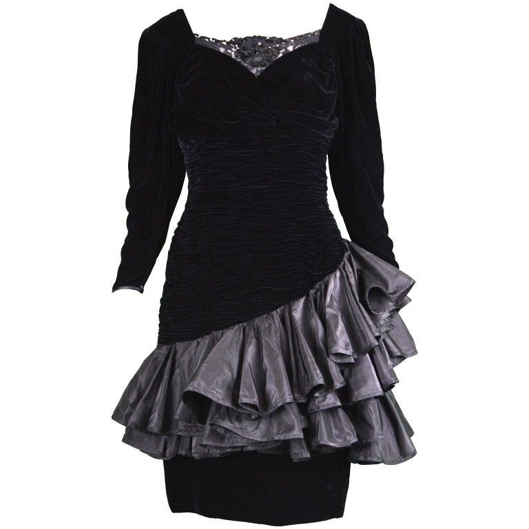Emanuel Ungaro Black Ruched Velvet & Taffeta Ruffle Vintage Evening Dress, 1980s For Sale