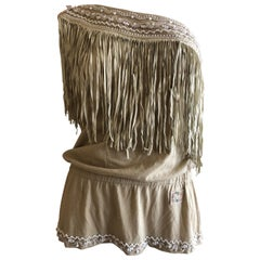 D&G Dolce & Gabbana Vintage Suede Fringe One Shoulder Top