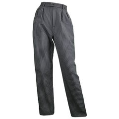 Yves Saint Laurent Rive Gauche Black Worsted Wool Pinstripe Trousers Pants