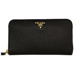 Prada Black Saffiano Leather All Around Zipper Wallet