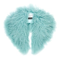 Verheyen London Shawl Collar in Aquamarine Blue Mongolian Lamb Fur  - Brand New