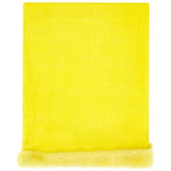 Verheyen London Handwoven Mink Fur Trimmed Cashmere Shawl in Yellow  - New
