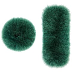 Verheyen London Snap on Jade Fox Fur Cuffs  - New