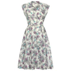 1950s Grey Blue and Purple Floral Dress Never Worn