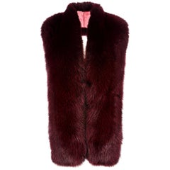 Verheyen London Legacy Stole in Garnet Burgundy Fox Fur & Silk Lining