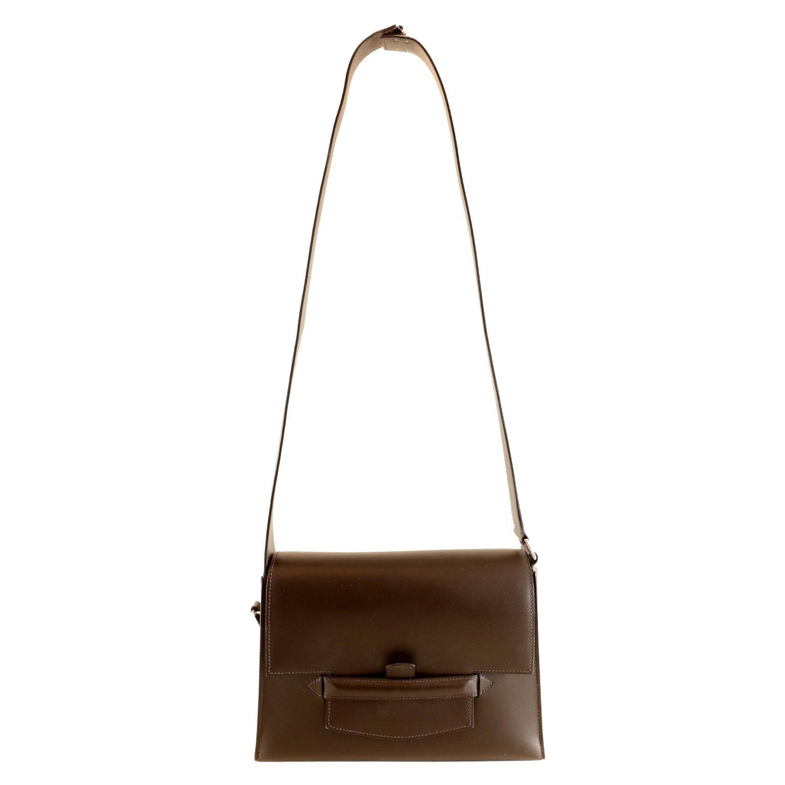 Hermès Custom Espresso Evergrain Shoulder Bag