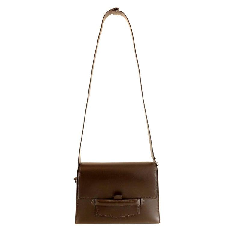 Hermès Custom Espresso Evergrain Shoulder Bag For Sale