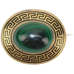 Victorian Malachite & Gold Brooch With Black Greek Key Enamel