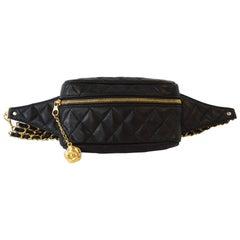 1990s Chanel Black Lambskin Chain Belt Fanny Pack