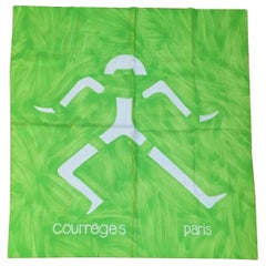 Courreges Neon Green Abstract Man Scarf 1960s