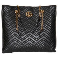 Gucci GG Marmont GM Black leather Tote