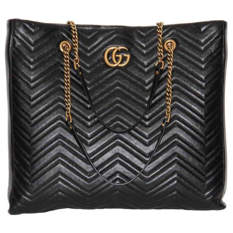 0ca9167fbc1 Gucci GG Marmont GM Black leather Tote For Sale at 1stdibs