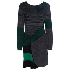 Emporio Armani Black Striped Knit Pleat Detail Long Sleeve Dress M