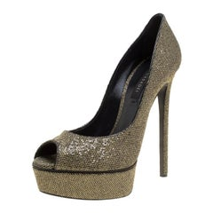 Casadei Black Glitter Lamé Fabric Daisy Peep Toe Platform Pumps Size 39