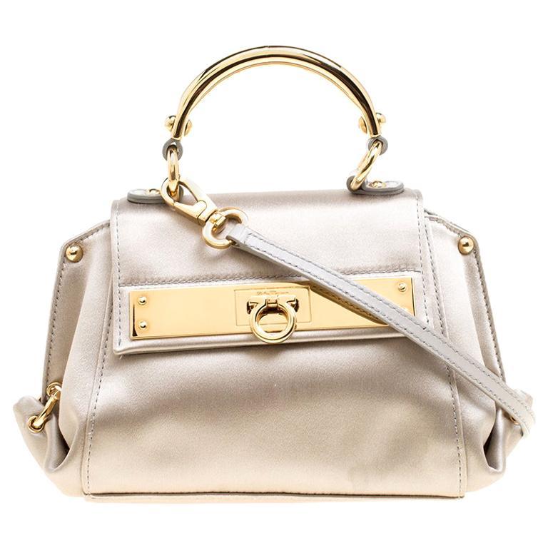 Salvatore Ferragamo Metallic Grey Satin Mini Sofia Crossbody Bag For Sale