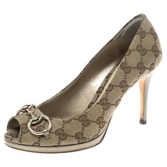 cd218626b Gucci Beige GG Canvas and Leather New Hollywood Horsebit Peep Toe Pumps  Size 37