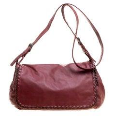 Bottega Veneta Maroon Leather Karung Crossbody Messenger Bag