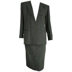 "Giorgio ARMANI ""New"" Dark and Light Gray Lines, Skirt Wool Suit - Unworn"