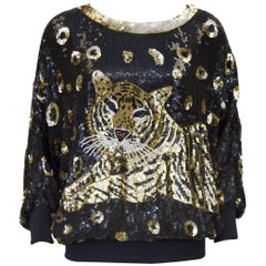 1980s I. Magnin Sequin Tiger Top