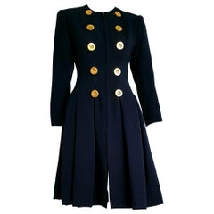 "Christian DIOR ""New"" Blue Gilding buttons Cashemere and Silk Dress  - Unworn"