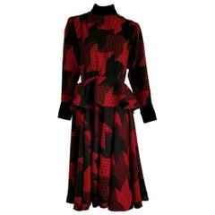 """Christian DIOR """"New"""" Red Black with Velvet Cuffs Collar Belt, Wool Dress- Unworn"""