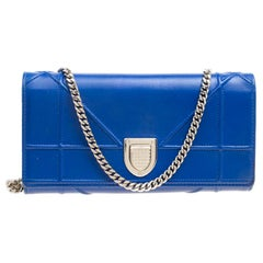 Dior Blue Cannage Leather Diorama Wallet on Chain