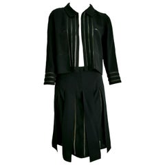 """CHANEL """"New"""" Black with transparent Stripes Wool Skirt Suit - Unworn"""