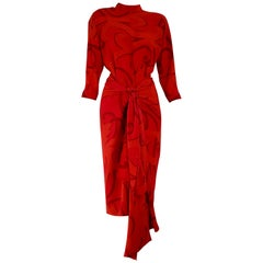 "Gianfranco FERRÉ ""New"" Couture Red Silk Dress with Skirt Foulard - Unworn"