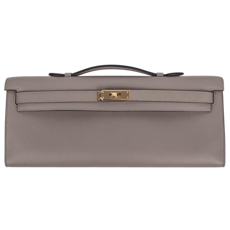 Hermes Kelly Cut Bag Gris Asphalte Gray Clutch Gold Hardware Swift Leather