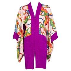 Vintage Japanese Magenta Silk Print Kimono Jacket