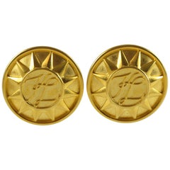 Karl Lagerfeld KL logo clip on Earrings Gilt Metal Oversized Sun
