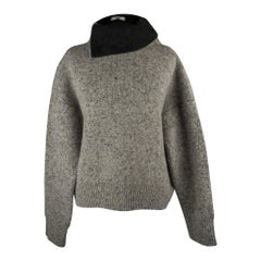 Celine Sweater Heathered Gray Turtleneck Oversized XS