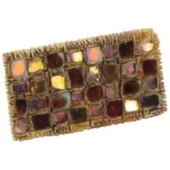 Line Vautrin Talosel Pink Mirror Geometric Checkerboard Brooch Pin