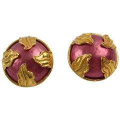 Dominique Aurientis Paris Clip On Earrings Gilt Metal and Pink Pearl Cabochon