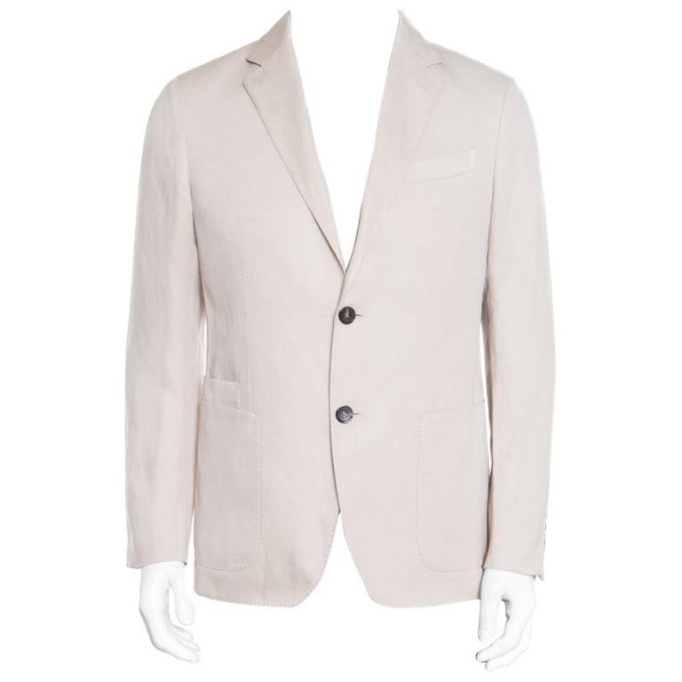 bb4efe93 Ermenegildo Zegna Beige Silk and Linen Tailored Blazer M