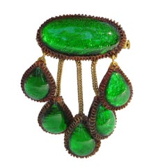 Line Vautrin School Dangling Green Talosel Resin Pin Brooch