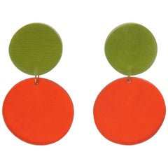Harriet Bauknight for Kaso Orange Green Chandelier Dangling Lucite Clip Earrings