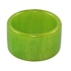 Oversized Bakelite Bracelet Bangle Apple Green Marble Color