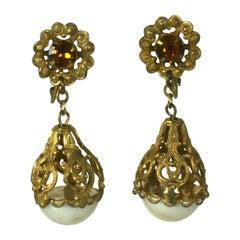 Miriam Haskell Filigree Pearl Drop Earrings