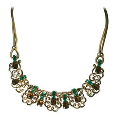 Marcel Boucher Retro Topaz and Emerald Necklace