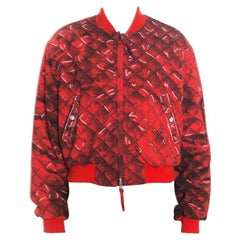 Moschino Couture Red Trompe-L'oeil Printed Bomber Jacket L