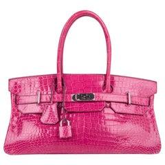 Hermes JPG Shoulder Birkin 42 Bag Fuchsia Porosus Crocodile Bag Limited Edition