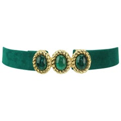 1980's Mimi di N Emerald Green & Gold Buckle With Belt