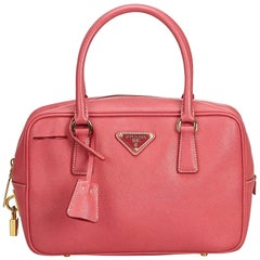 Prada Pink Saffiano Leather Bauletto Handbag