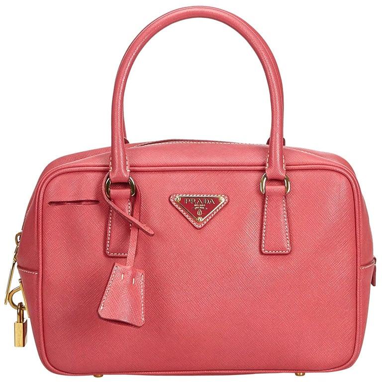 ef1535ed3f94 Prada Pink Saffiano Leather Bauletto Handbag For Sale at 1stdibs
