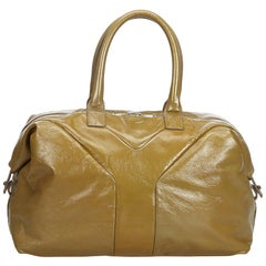 YSL Brown Leather Easy Boston Bag