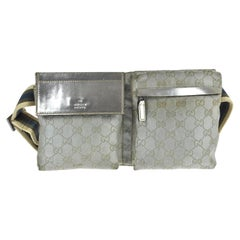 Gucci Monogram Fanny Pack Waist Pouch 868030 Silver Canvas Cross Body Bag
