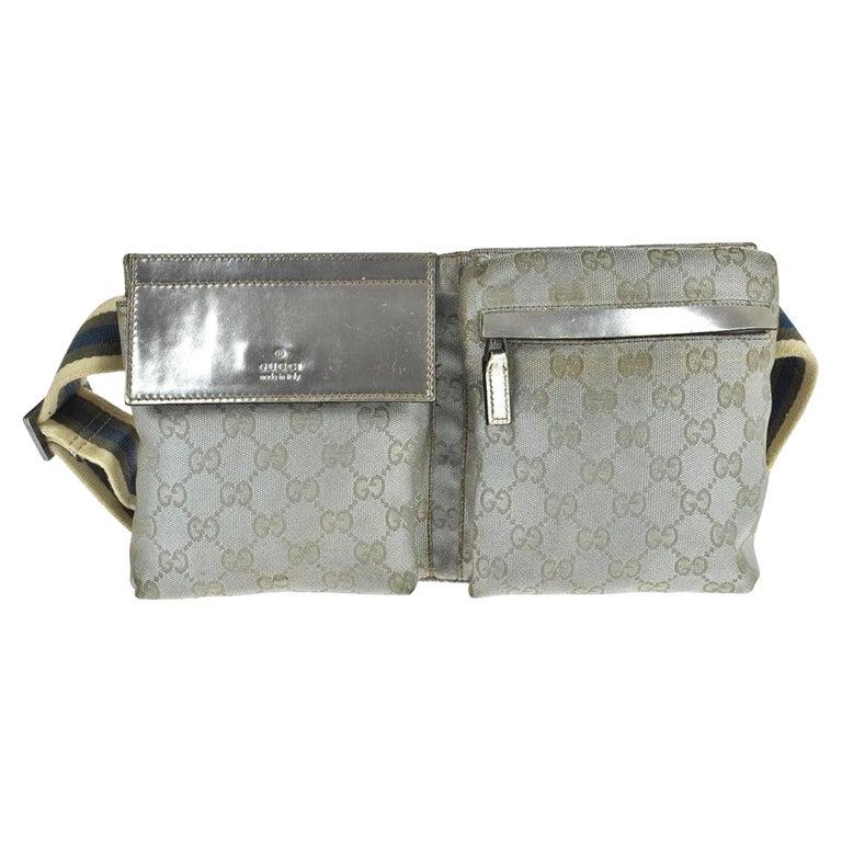 e9d16c1c13b81d Gucci Monogram Fanny Pack Waist Pouch 868030 Silver Canvas Cross Body Bag  For Sale