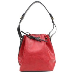 c82d0fbf875f Louis Vuitton X Black Bicolor Epi Petit Noe 867971 Red Leather Shoulder Bag