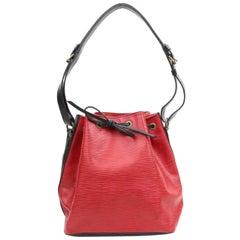 Louis Vuitton X Black Bicolor Epi Petit Noe 867971 Red Leather Shoulder Bag
